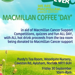 Macmillan Coffee Day – Friday 30th September, 10am to 4pm