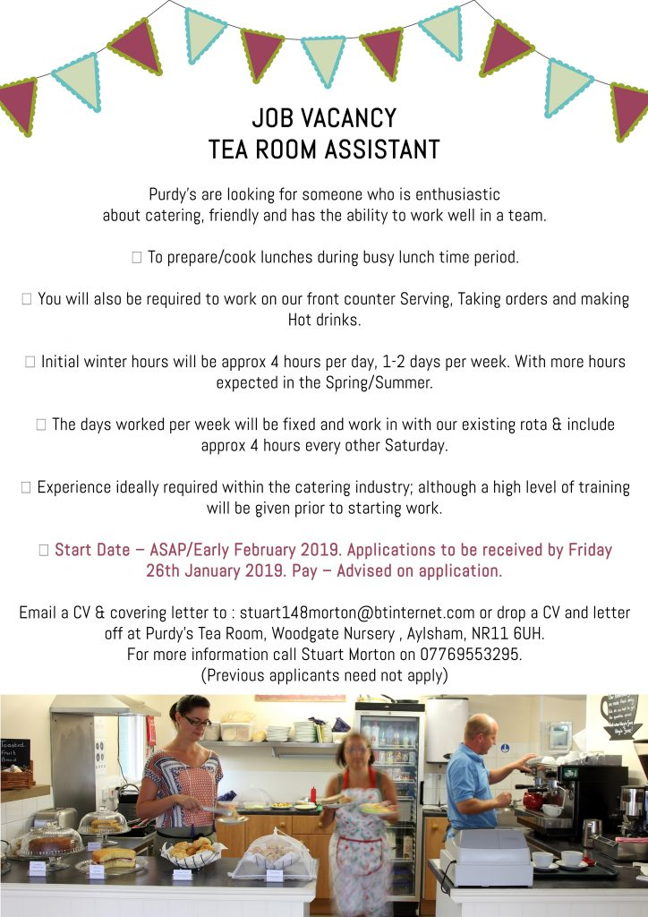 Job Vacancy – Tea Room Assistant