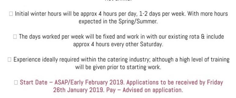 Job Vacancy – Tea Room Assistant